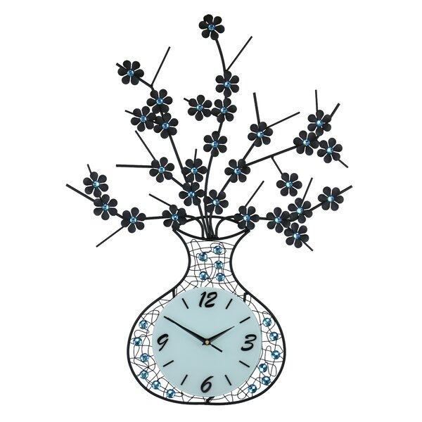 Whiting Vase and Flower Wall Clock by Red Barrel Studio