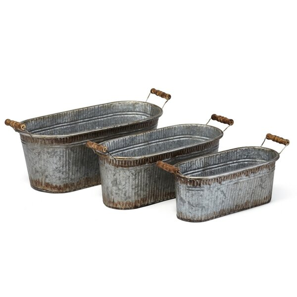 Uniquely Adorning 3-Piece Galvanized Sheet Pot Planter Set by Benzara