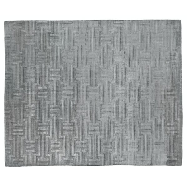 Smooch Carved Hand-Woven Silk Gray Area Rug by Exquisite Rugs