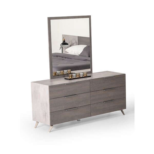 Xenia 6 Drawer Dresser With Mirror By Brayden Studio by Brayden Studio New