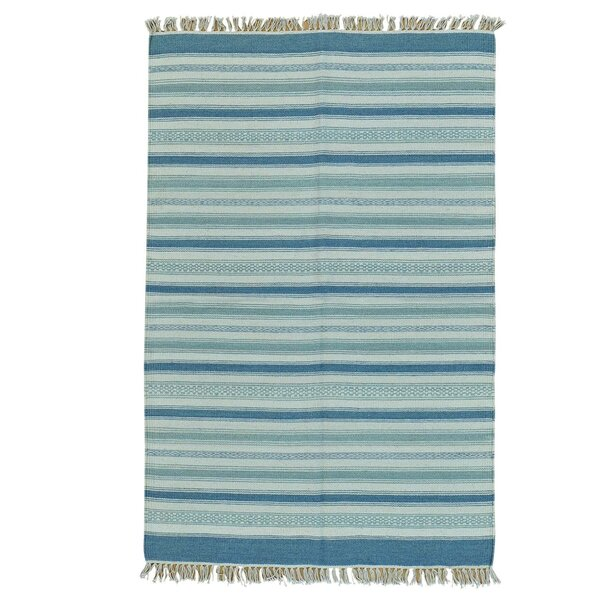 Striped Flat Weave Kilim Oriental Hand-Knotted Light Blue/Gray Area Rug by Bloomsbury Market