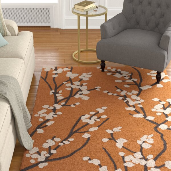 Dykstra Hand-Crafted Orange/Ivory Area Rug by Charlton Home