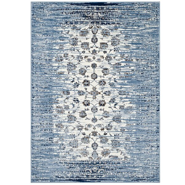 Crader Distressed Floral Lattice Contemporary Morrocan Blue/Ivory Area Rug by Wrought Studio