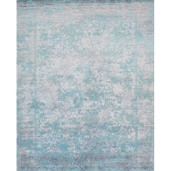 Hand-Knotted Wool/Silk Aqua Area Rug by Pasargad