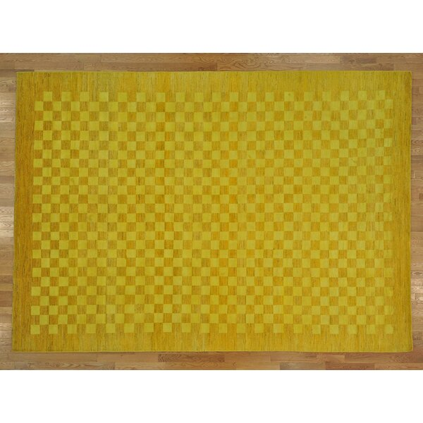 One-of-a-Kind Becker Hand-Knotted Yellow Wool Area Rug by Isabelline