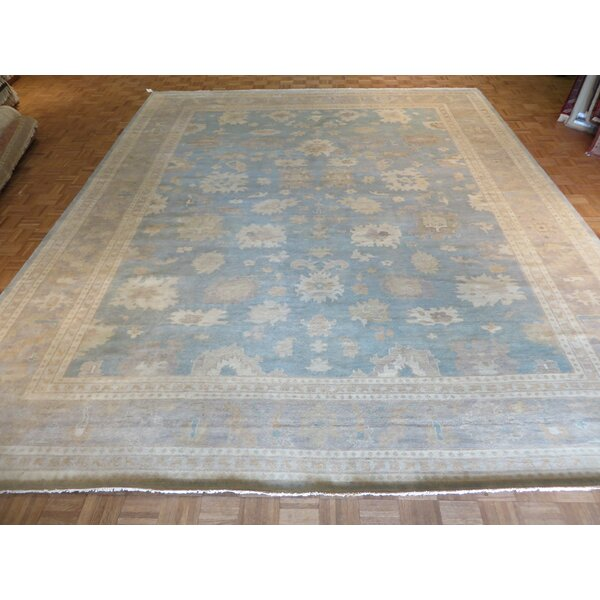 One-of-a-Kind Josephson Turkish Oushak Hand-Knotted Sky Blue Area Rug by Canora Grey