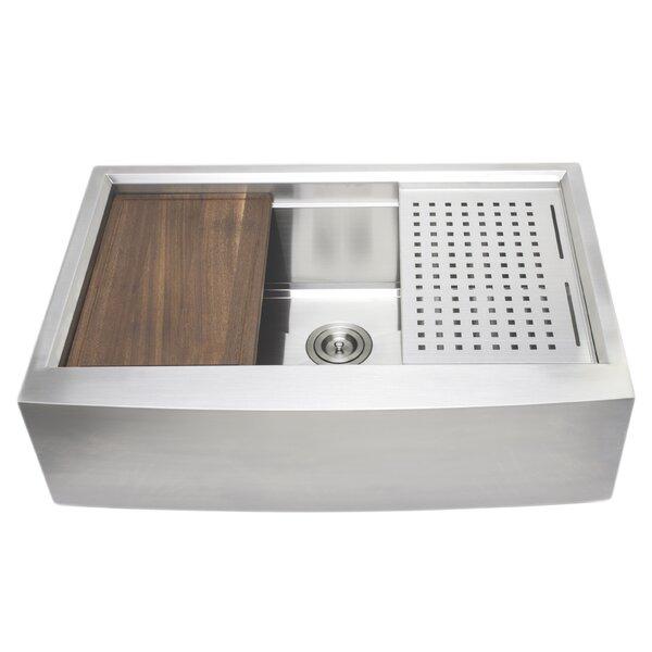 33 L x 22 W Farmhouse Kitchen Sink with Basket Strainer by Wells Sinkware