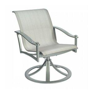 Nob Hill Sling Rocking Swivel Patio Dining Chair Woodard