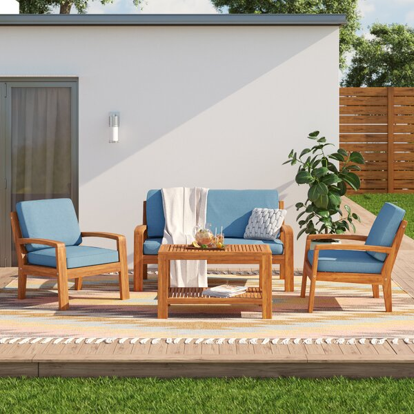 Berkley 4 Piece Sofa Seating Group with Cushions by Sol 72 Outdoor