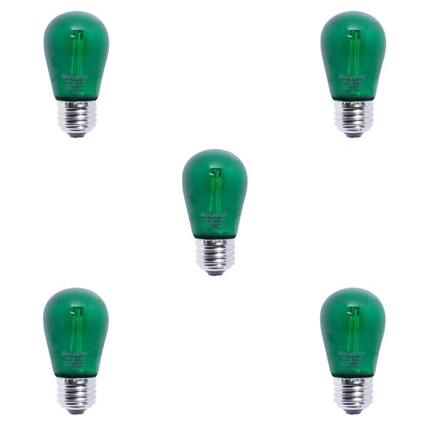 2W E26 LED Light Bulb Green (Set of 5) by Bulbrite Industries