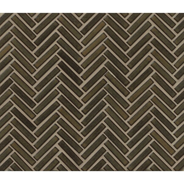Herringbone Mosaic 11 x 12.25 Porcelain Tile in Olive by Grayson Martin