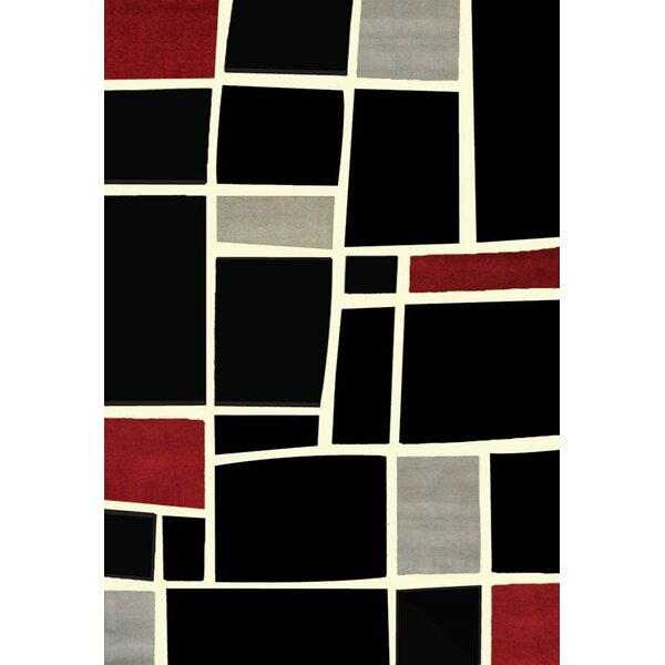 Cerna Black/Red Area Rug by Winston Porter