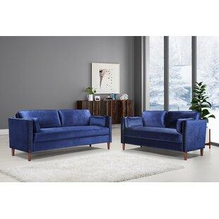 Eisen 2 Piece Velvet Standard Living Room Set by Mercer41