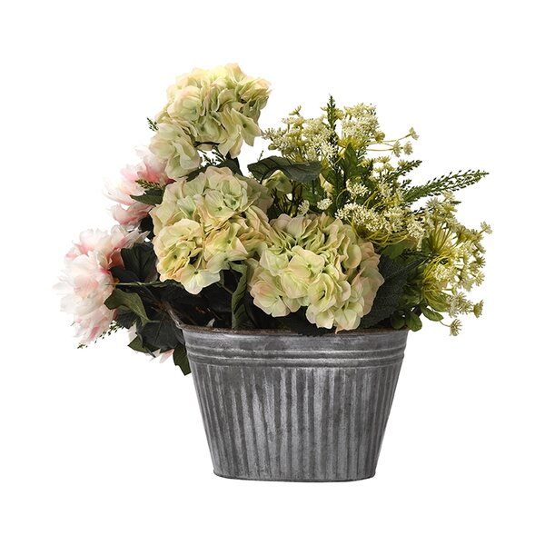 Mixed Floral Arrangement in Oval Metal Planter by Ophelia & Co.