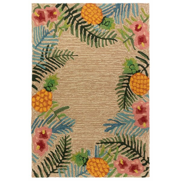 Demirhan Tropical Hand-Hooked Ivory/Green Indoor/Outdoor Area Rug by Bay Isle Home