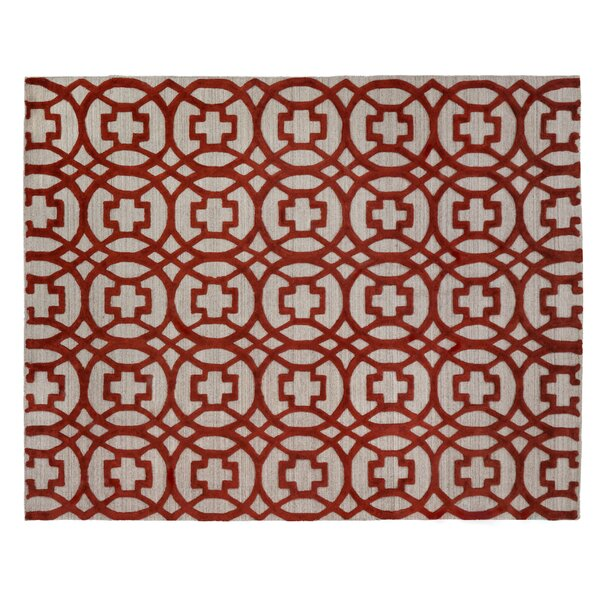 Windsor Hand-Woven Wool Red/Gray Area Rug by Exquisite Rugs