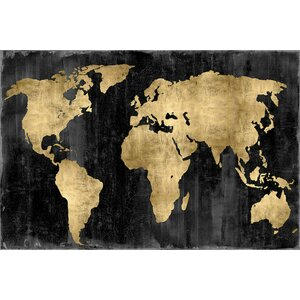 'The World' Graphic Art Print on Canvas in Gold and Black by East Urban Home