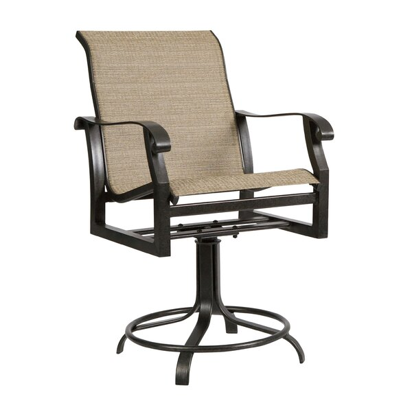Cortland Sling Swivel Patio Bar Stool by Woodard