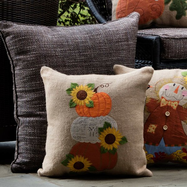 Logan Square Harvest Pumpkins and Sunflowers Throw Pillow by August Grove