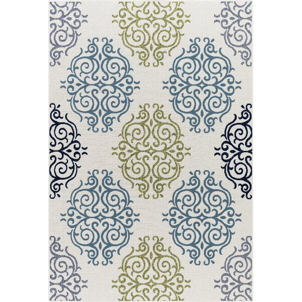 Keeble Beautiful Scroll Motif Green/Gray Indoor/Outdoor Area Rug by Winston Porter