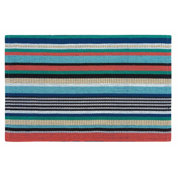 Farmhouse Stripe Hand Woven Red/Green Indoor/Outdoor Area Rug by CompanyC