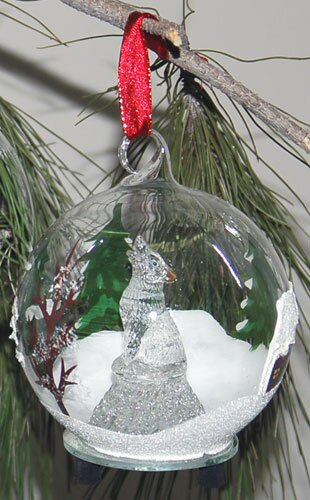 Light Up Glass Howling Wolf Ornament by Unison Gifts