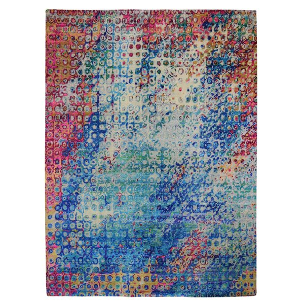 One-of-a-Kind Hand-Knotted Blue/Red 9' x 12' Area Rug