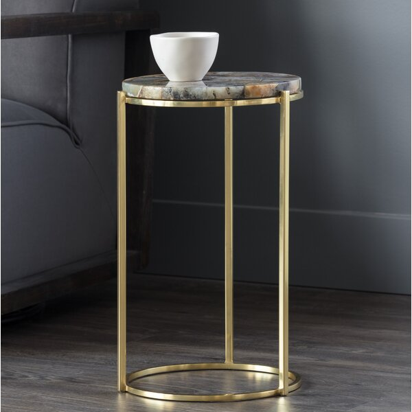 Tillie Natural Agate Stone End Table by Sunpan Modern