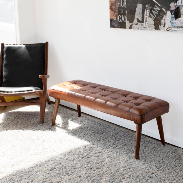 Aaron Leather Bench By Union Rustic by Union Rustic Cheap