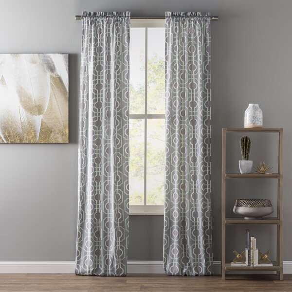Vegard Geometric Semi-Sheer Rod Pocket Curtain Panels (Set of 2) by Langley Street