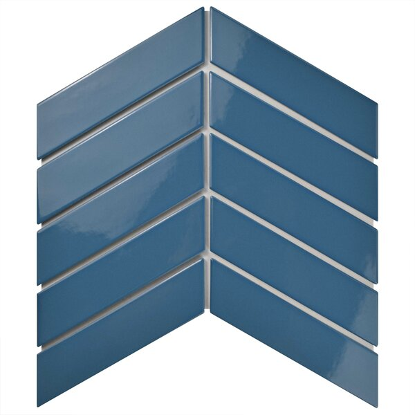 Retro Soho Chevron 1.75 x 7 Porcelain Subway Tile in Blue by EliteTile