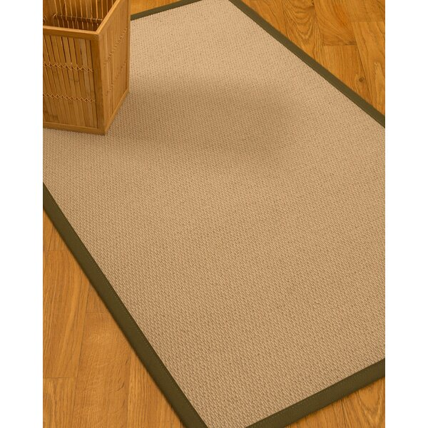 Chea Border Hand-Woven Wool Beige/Malt Area Rug by Rosecliff Heights