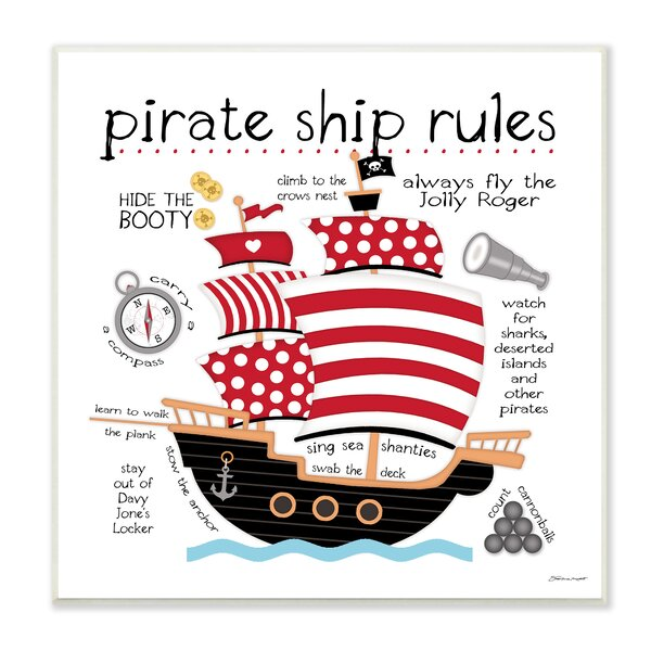 Paxson Pirate Ship Rules Wall Plaque by Harriet Bee