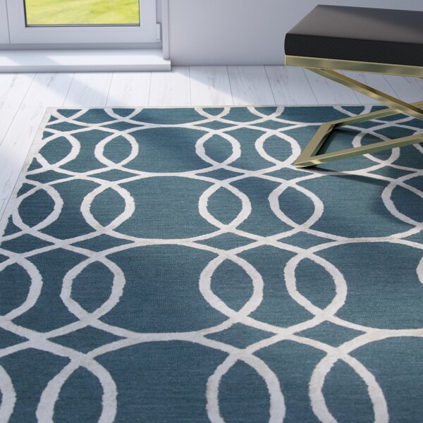 Fabian Hand Tufted Wool Teal Area Rug by Mercer41