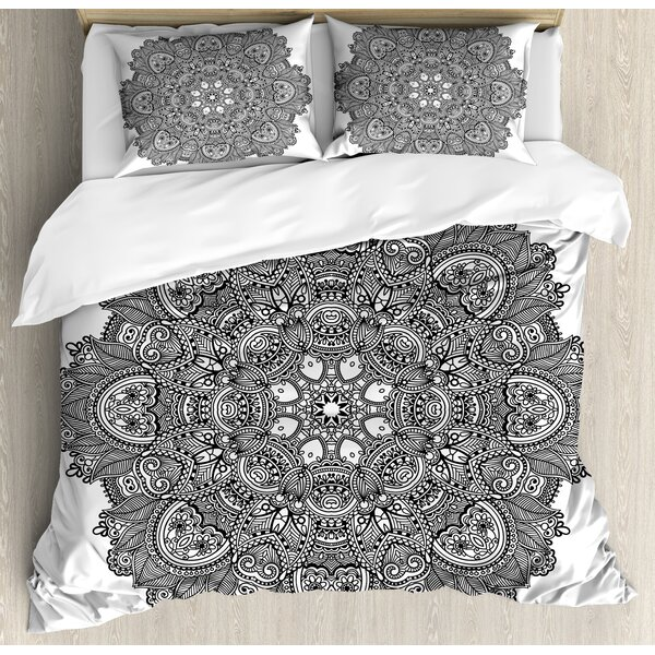 Lotus Ornamental Mandala with Lace Pattern Featured Mixed Flower Petals Indian Folk Design Duvet Set by Ambesonne
