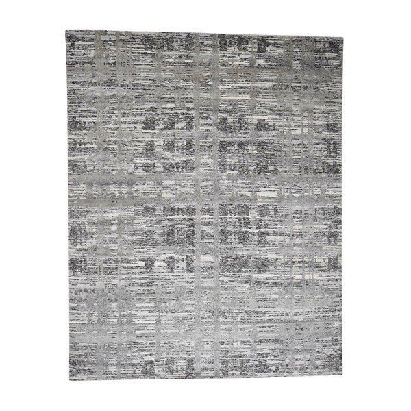 One-of-a-Kind Feroz Undyed Natural Modern Oriental Hand-Knotted Silk Gray Area Rug by World Menagerie