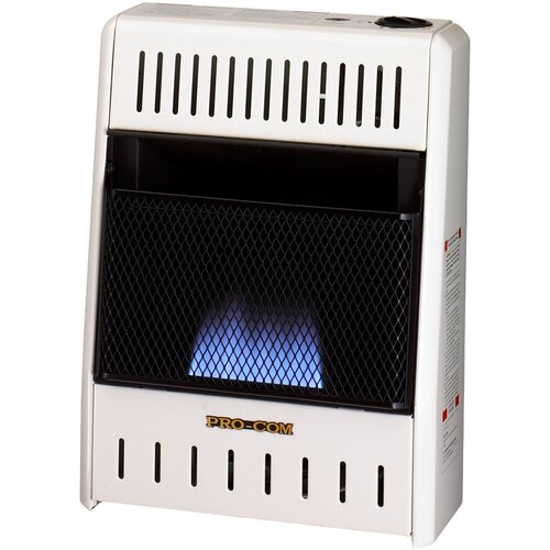 Dual Fuel Ventless Flame 10,000 BTU Natural Gas/Propane Infrared Wall Mounted Heater by ProCom