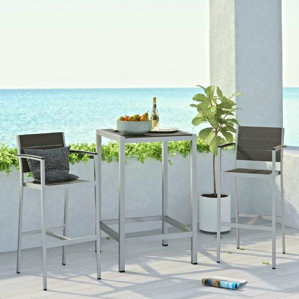 Coline Outdoor Patio Aluminum 3 Piece Bar Set By Orren Ellis