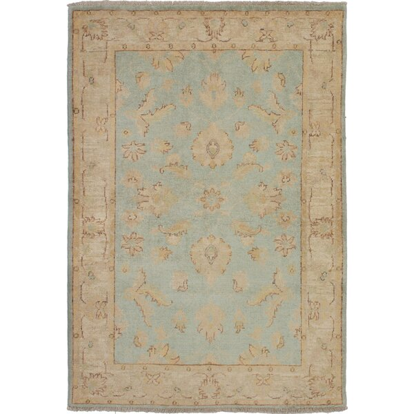 One-of-a-Kind Adelhard Chobi Finest Hand-Knotted Wool Blue/Gray Area Rug by Isabelline