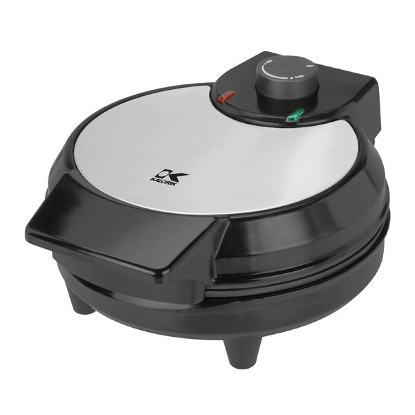Traditional Black and Stainless Steel Belgian Waffle Maker by Kalorik