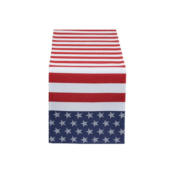 Stars and Stripes Jacquard Table Runner by The Holiday Aisle