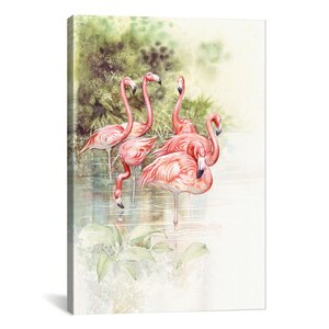 'Flamingo Bird' by Tim Knepp Painting Print on Canvas by iCanvas