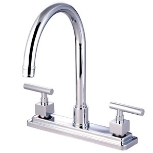 Kingston Brass Claremont Double Handle Kitchen Faucet with Non-Metallic Sprayer