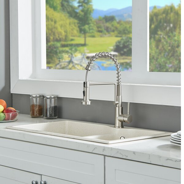 Pull Down Single Handle Kitchen Faucet with Side Spray by VAPSINT VAPSINT