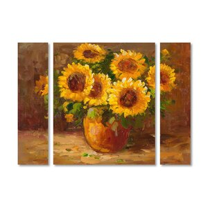 'Sunflowers Still Life' by Masters Fine Art 3 Piece Painting Print on Wrapped Canvas Set by Trademark Fine Art