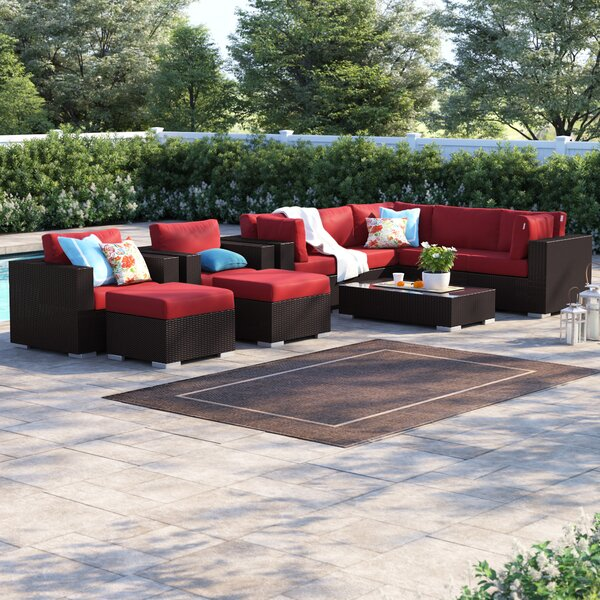 Brentwood 10 Piece Rattan Sectional Seating Group with Cushions by Sol 72 Outdoor