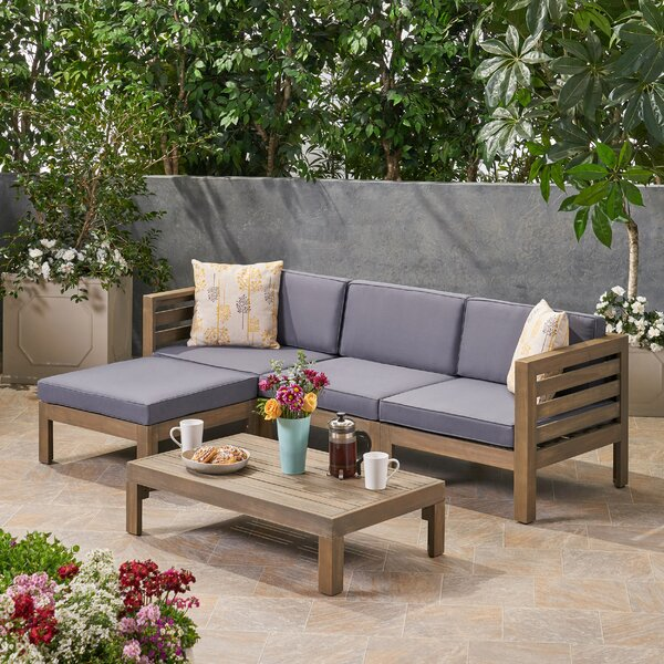 Dwayne Outdoor 5 Piece Sectional Seating Group with Cushions by Longshore Tides