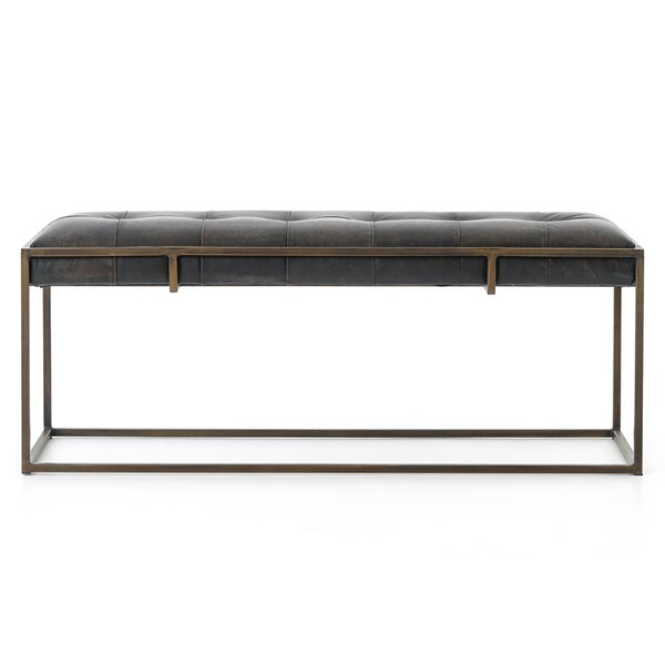 Sepviva Genuine Leather Oxford Bench by Union Rustic Union Rustic