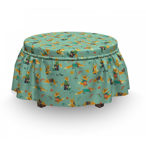 Foxes With Glasses Ottoman Slipcover (Set Of 2) By East Urban Home