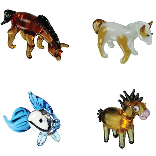4 Piece Miniature ArabianHouse, PintoHorse, Goldfish, Horsey Figurine Set by Looking Glass
